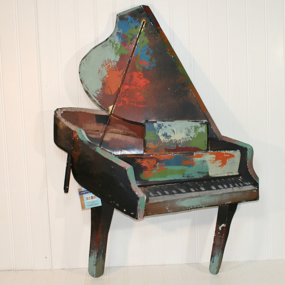 Painted Distressed Metal Piano Wall Decoration Art